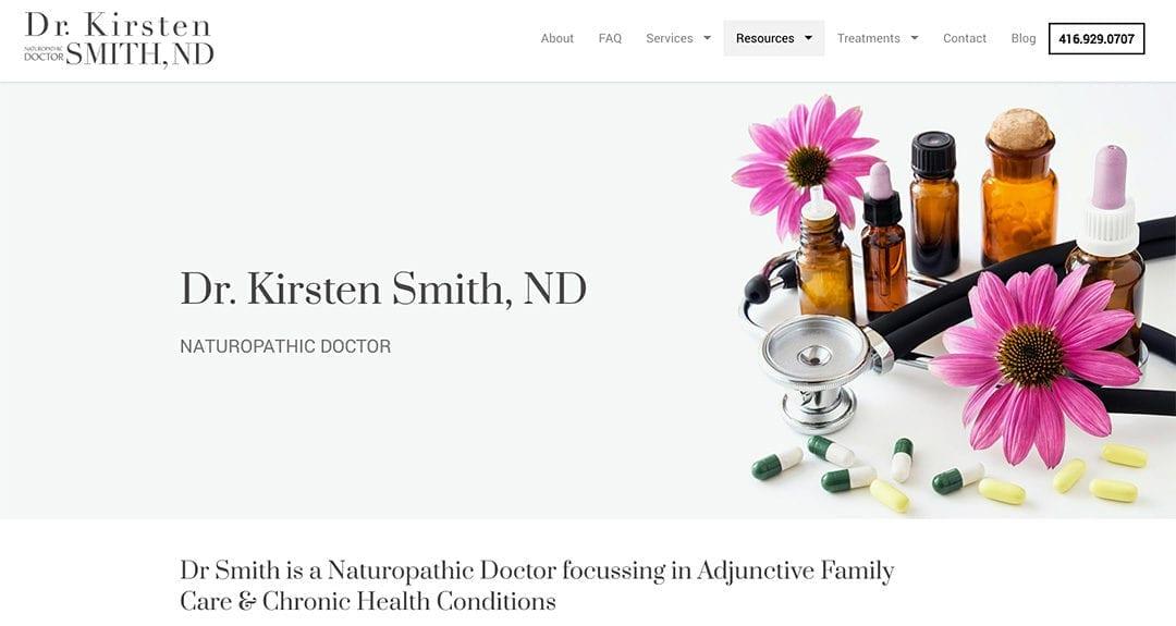 Website redesign: Dr Kirsten Smith, ND
