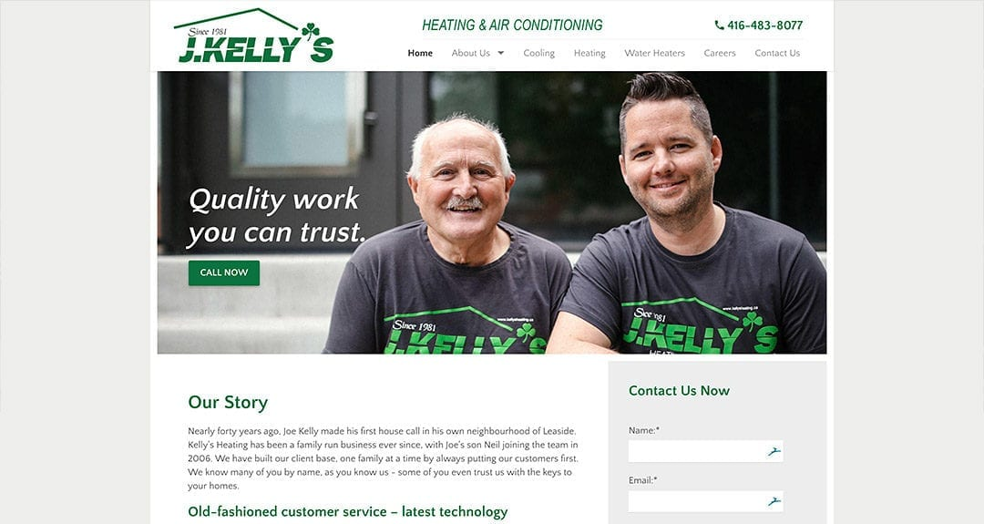 New website: Kelly's Heating, serving Toronto's Leaside neighbourhood