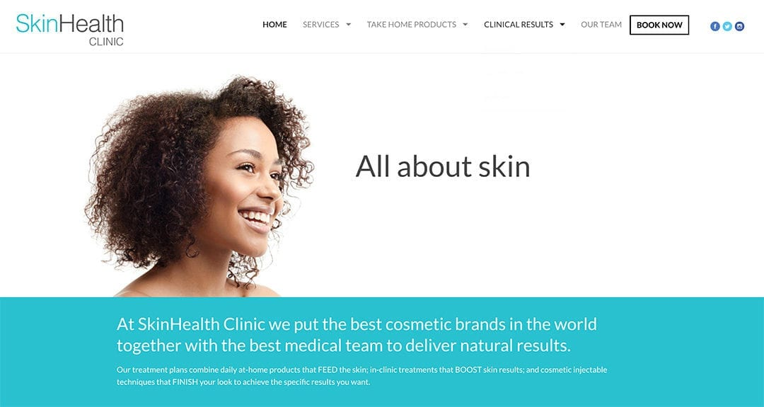 Website redesign: SkinHealth Clinic