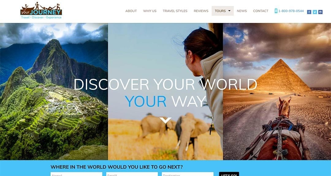 New client, dramatic webdesign transformation: YourJourney.com