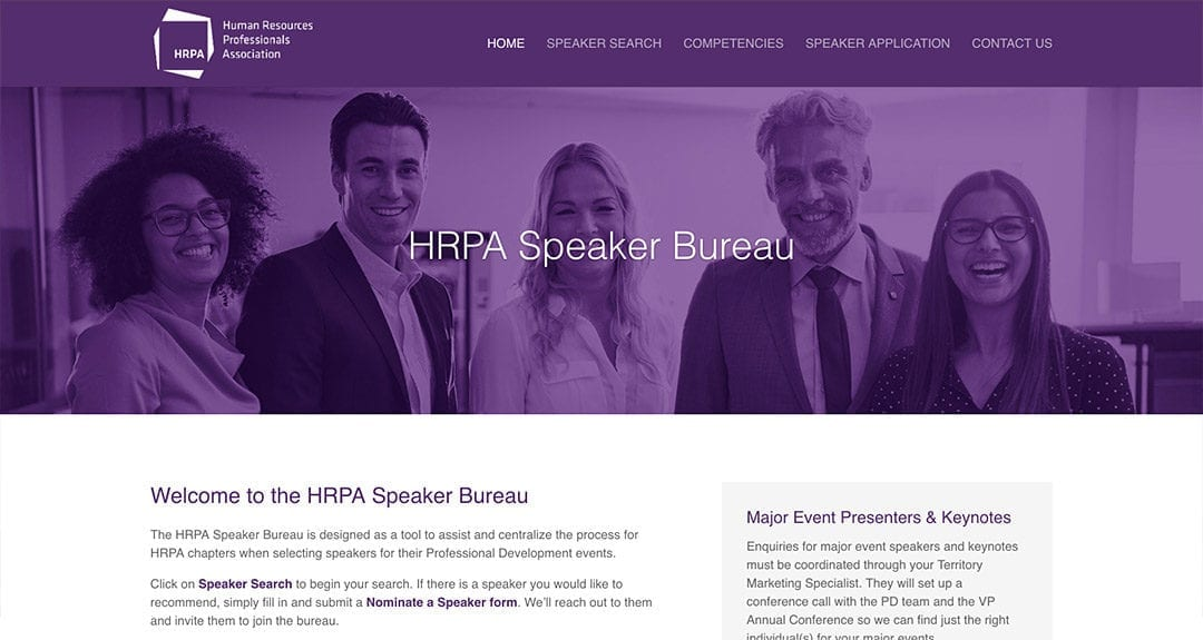 HRPA Speaker Bureau Searchable Database Tool