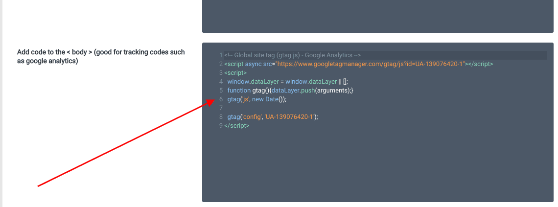 Adding Google Analytics tracking code
