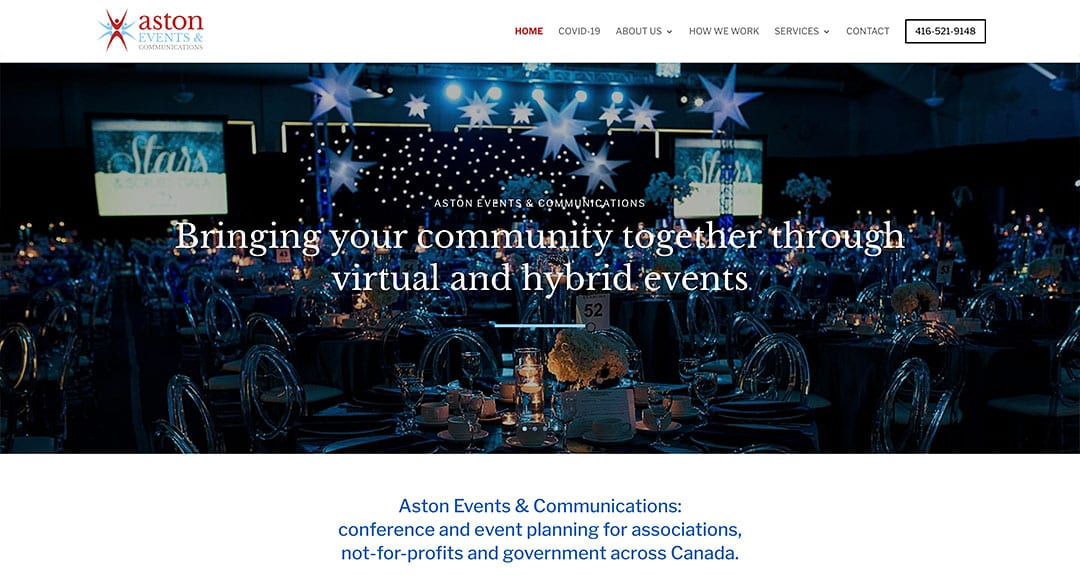 Our latest conversion to our new WordPress platform: Aston Events