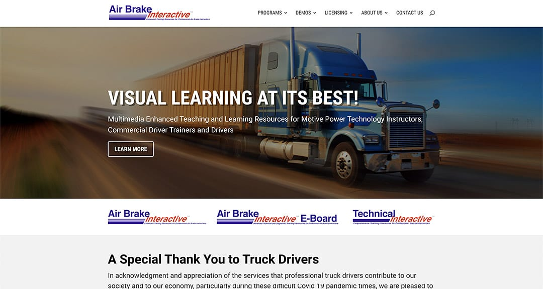 New website redesign and conversion to WordPress: Air Brake Interactive