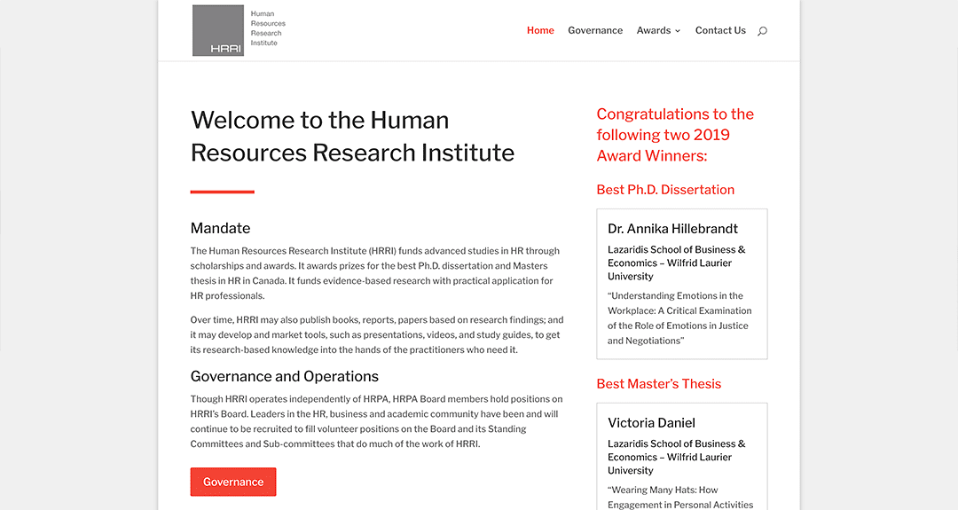 New website redesign and conversion to WordPress: Human Resources Research Institute
