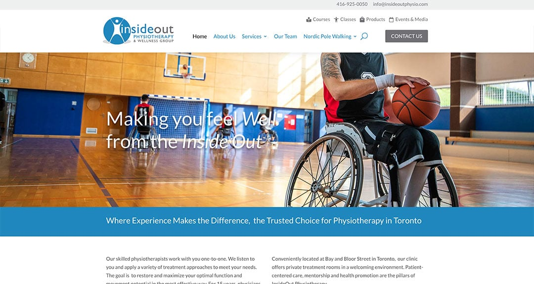 New website redesign and conversion to WordPress: InsideOutPhysio