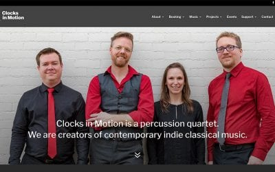 New website redesign and conversion to WordPress: Clocks in Motion