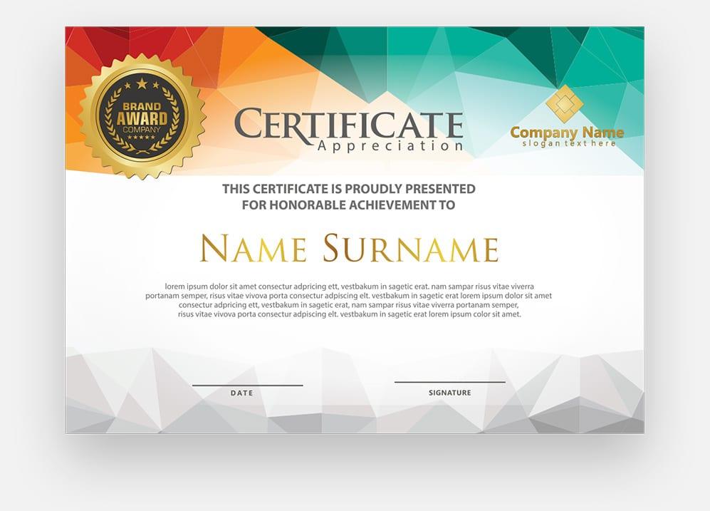 A course certificate